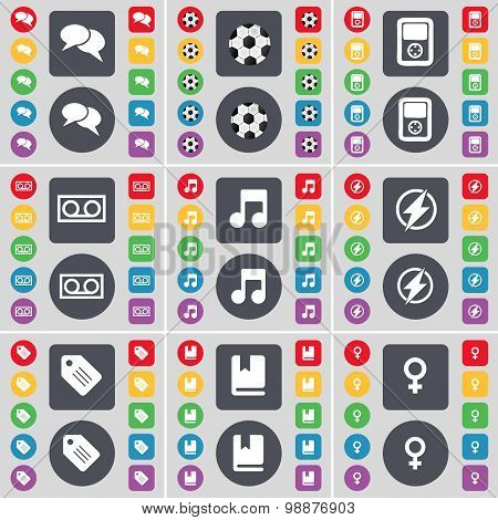 Chat, Ball, Player, Cassette, Note, Flash, Tag, Dictionary, Venus Symbol Icon Symbol. A Large Set Of