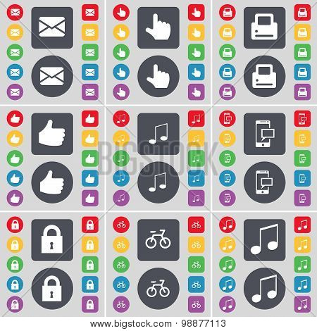 Message, Hand, Printer, Like, Note, Sms, Lock, Bicycle, Note Icon Symbol. A Large Set Of Flat, Color