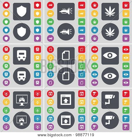 Badge, Trumped, Marijuana, Truck, File, Vision, Monitor, Window, Cctv Icon Symbol. A Large Set Of Fl