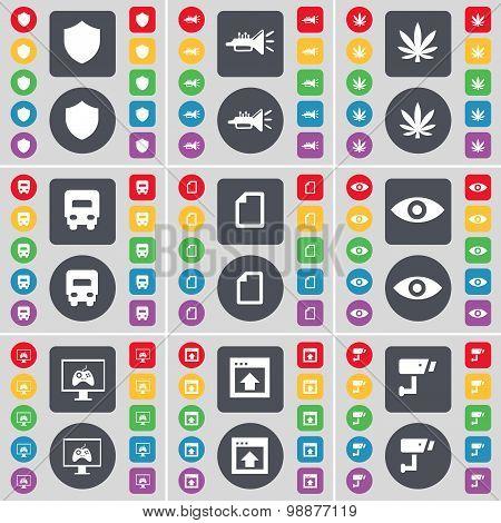 Badge, Trumped, Marijuana, Truck, File, Vision, Monitor, Window, Cctv Icon Symbol. A Large Set Of Fl