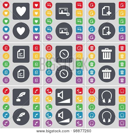 Heart, Picture, File, Text File, Compass, Trash Can, Ink Pot, Volume, Headphones Icon Symbol. A Larg