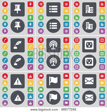 Pin, List, Building, Ink Pot, Wi-fi, Socket, Warning, Flag, Message Icon Symbol. A Large Set Of Flat