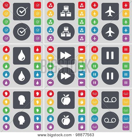 Tick, Network, Airplane, Drop, Rewind, Pause, Silhouette, Apple, Cassette Icon Symbol. A Large Set O