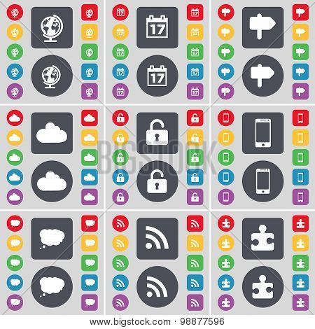 Globe, Calendar, Signpost, Cloud, Lock, Smartphone, Chat Cloud, Rss, Puzzle Part Icon Symbol. A Larg
