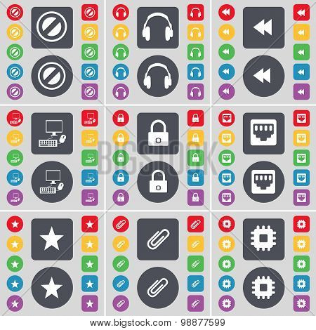 Stop, Headphones, Rewind, Pc, Lock, Lan Socket, Star, Clip, Processor Icon Symbol. A Large Set Of Fl