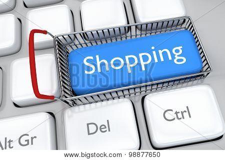 3D render illustration of online shopping key
