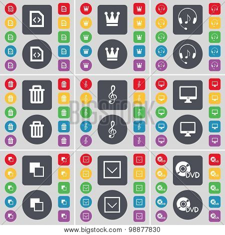 File, Crown, Headphones, Trash Can, Clef, Mobile, Copy, Arrow Down, Dvd Icon Symbol. A Large Set Of