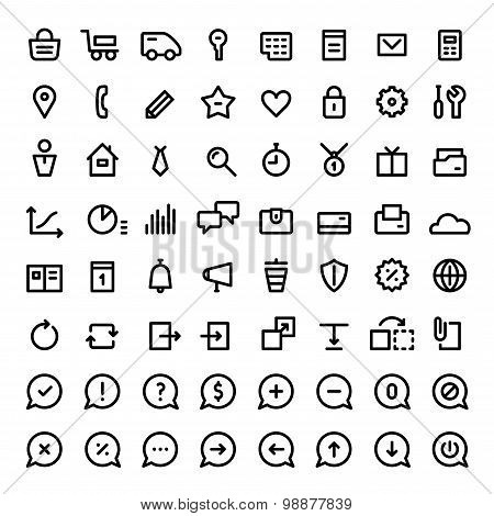 Linear icons set for web services. Black color.