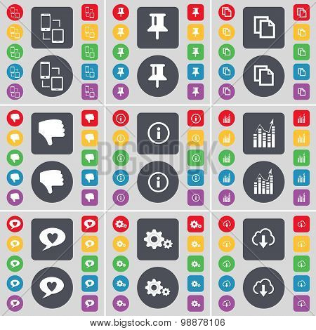 Connection, Pin, Copy, Dislike, Information, Graph, Chat Bubble, Gear, Cloud Icon Symbol. A Large Se
