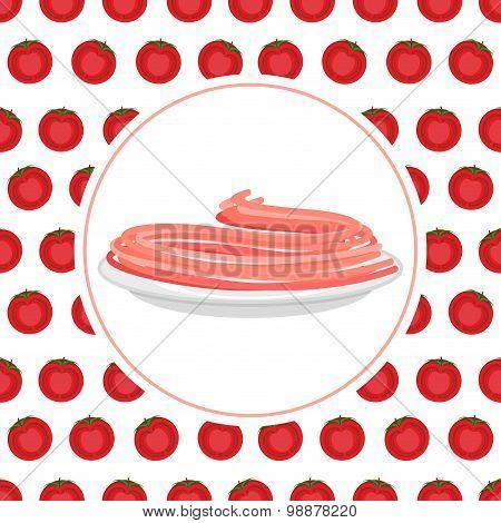 Red Tomato Spaghetti Against Backdrop Of A Tomato. Vector Illustration Pasta.