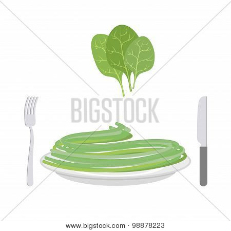 Green Pasta With Ingredient Spinach. Spaghetti On A Plate. Vector Illustration Of Delicatessen Food