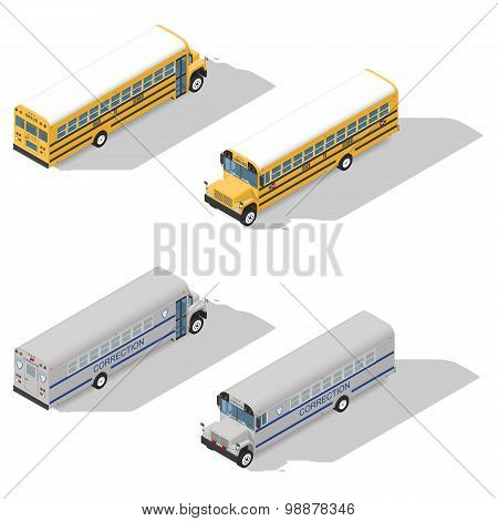 School And Prison Buses Isometric Icon Set
