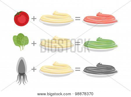 Assorted Color Pasta. Spaghetti And Spinach-green Paste. Spaghetti And Tomato-red Paste. Cuttlefish