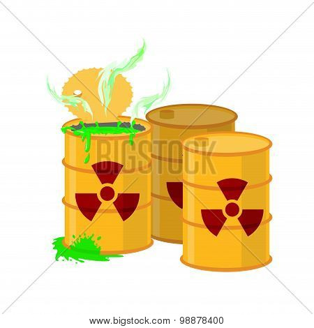 Yellow Barrel With A Radiation Sign. Open Container Of Radioactive Waste. Green Spilled Acid. Vector