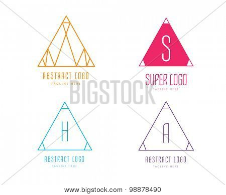 Pyramide shape logo icon vector set. Triangle template design. Geometric shape, triangle icon. Tchnology icons, technology logo, vector logo, web, abstract shape. Web logo. Technology logo.