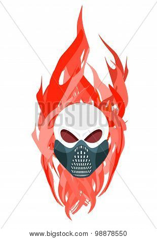 Skull Protective Mask Against A Backdrop Of Flames. Vector Artwork For Tattoo