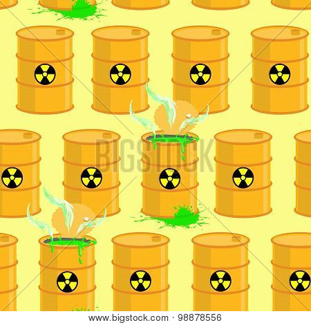 Chemical Waste Dump. Seamless Pattern With Barrels Of Biohazard. Vector Background Of Yellow Barrels