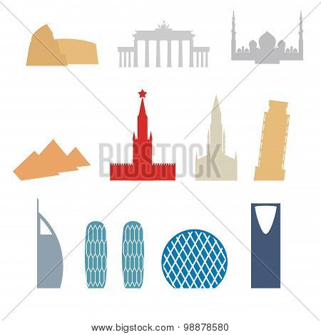 Set Of Flat Buildings Icons Countries. Attraction  Rome. Russia And Germany. Architecture A