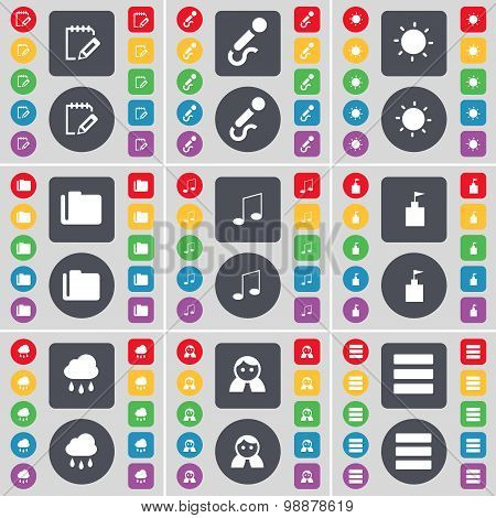 Notebook, Microphone, Light, Folder, Note, Flag Tower, Cloud, Avatar, Apps Icon Symbol. A Large Set