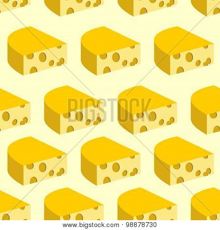 Cheese With Holes Seamless Pattern. Background Of Pieces Of Yellow Cheese. Vector Illustration Food