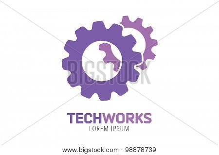 Gear vector logo icon template. Machine, progress, teamwork logo. Technology and techno shapes. Gear symbol. Teamwork vector logo. Tembuilding concept.
