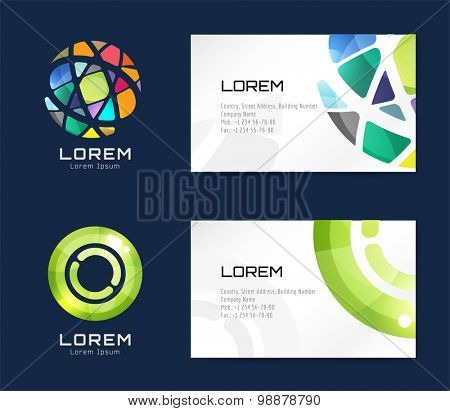 Vector business card template set. Globe and ring logo icons. Abstract geometric low poly design and creative identity cards. Plank, paper print. Business card design.