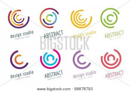 Vector circle ring logo set. Abstract flow logo template design. Round ring shape and infinity loop symbol, technology icon, geometric logo. Company logo. Logo design. Vector logo element. Web logo