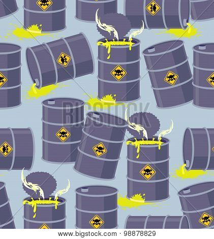 Dump Toxic Waste Barrels. Seamless Pattern Dump Hazardous Chemical Wastes. Vector Illustration Bio H