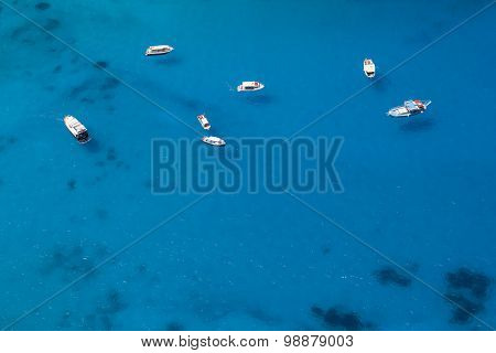 Boats Anchored In A Sea Bay