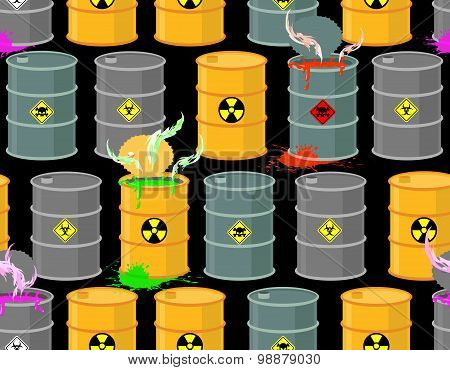 Biohazard Seamless Pattern. Open Barrels Of Radioactive And Toxic Substances. Danger To Life. Vector