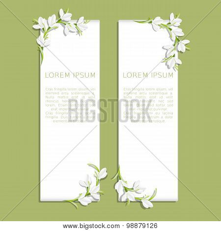 Set of two vertical banners with snowdrop flowers
