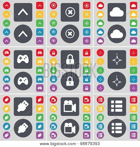 Arrow Up, Stop, Cloud, Gamepad, Lock, Compass, Usb, Film Camera, List Icon Symbol. A Large Set Of Fl