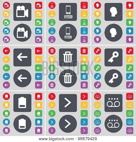 Film Camera, Smartphone, Silhouette, Arrow Left, Trash Can, Key, Battery, Arrow Right, Cassette Icon