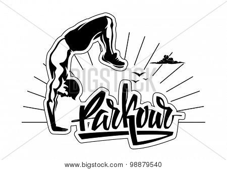 Male parkour is doing a hand stand
