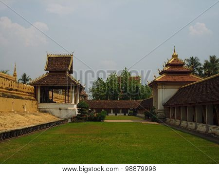 view of the courtyard of the Golden stupa, Laos