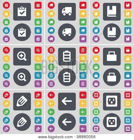 Survey, Truck, Dictionary, Magnifying Glass, Battery, Lock, Pencil, Arrow Left, Socket Icon Symbol.