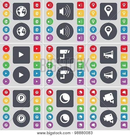 Earth, Sound, Checkpoint, Media Play, Cctv, Megaphone, Parking, Moon, Cctv Icon Symbol. A Large Set