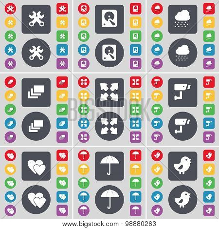 Wrench, Hard Drive, Cloud, Gallery, Full Screen, Cctv, Heart, Umbrella, Bird Icon Symbol. A Large Se