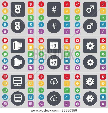 Medal, Hashtag, Mars Symbol, Negative Films, Plus One, Gear, Server, Cloud Icon Symbol. A Large Set