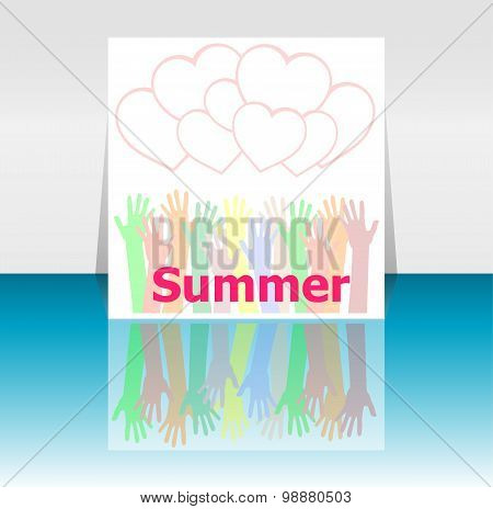 Word Summer And People Hands, Love Hearts, Holiday Concept, Icon Design