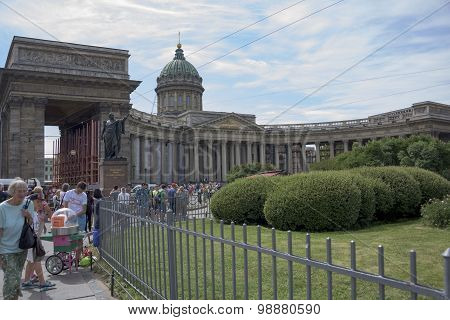Tourists Visiting And Resting Near Kazan Cathedral