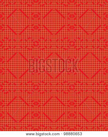 Golden seamless Chinese window tracery lattice square geometry line pattern.