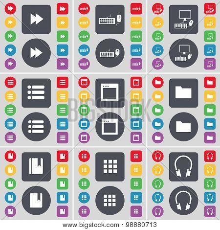 Rewind, Keyboard, Pc, List, Window, Folder,  Dictionary, Apps, Headphones Icon Symbol. A Large Set O