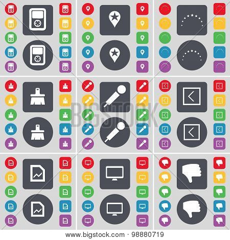 Player, Checkpoint, Stars, Brush, Microphone, Arrow Left, Graph File, Monitor, Dislike Icon Symbol.