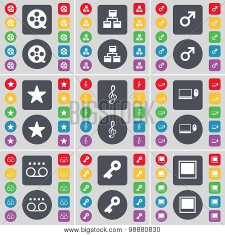 Vision, Network, Mars Cursor, Star, Clef, Laptop, Cassette, Key, Window Icon Symbol. A Large Set Of