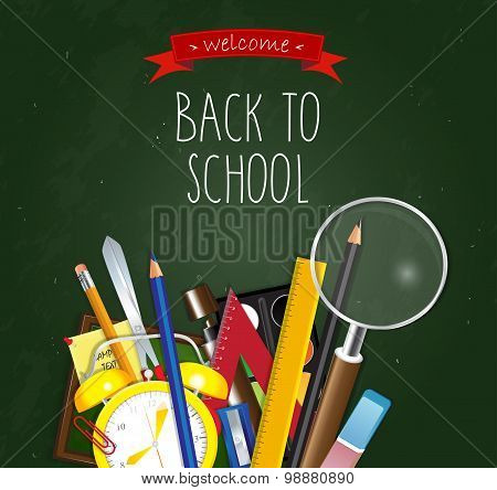 Back to School poster. School supplies on green background