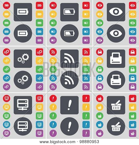 Battery, Vision, Gear, Rss, Printer, Server, Exclamation Mark, Basket Icon Symbol. A Large Set Of Fl