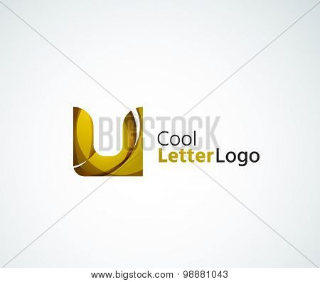 alphabet letter logo. Created with transparent colorful overlapping geometric shapes, waves and flowing elements