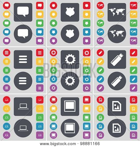 Chat Bubble, Police Badge, Globe, Apps, Gear, Usb, Laptop, Window, Media File Icon Symbol. A Large S