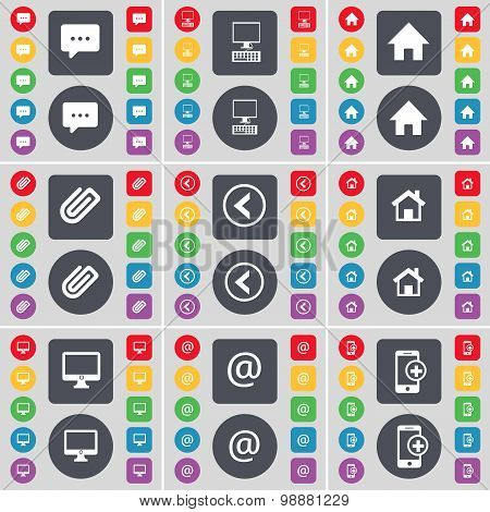 Chat Bubble, Monitor, House, Clip, Arrow Left, House, Monitor, Mail, Smartphone Icon Symbol. A Large